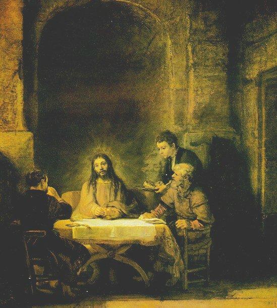 렘브란트가 그린 엠마오에 나타난 예수 그리스도